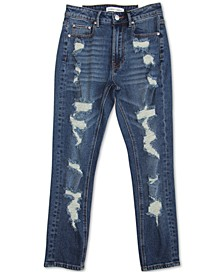 Juniors' Destructed High Rise Mom Jeans