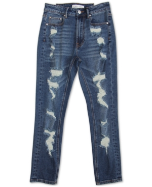 ALMOST FAMOUS JUNIORS' DESTRUCTED HIGH RISE MOM JEANS