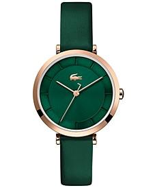 Women's Geneva Green Leather Strap Watch 32mm