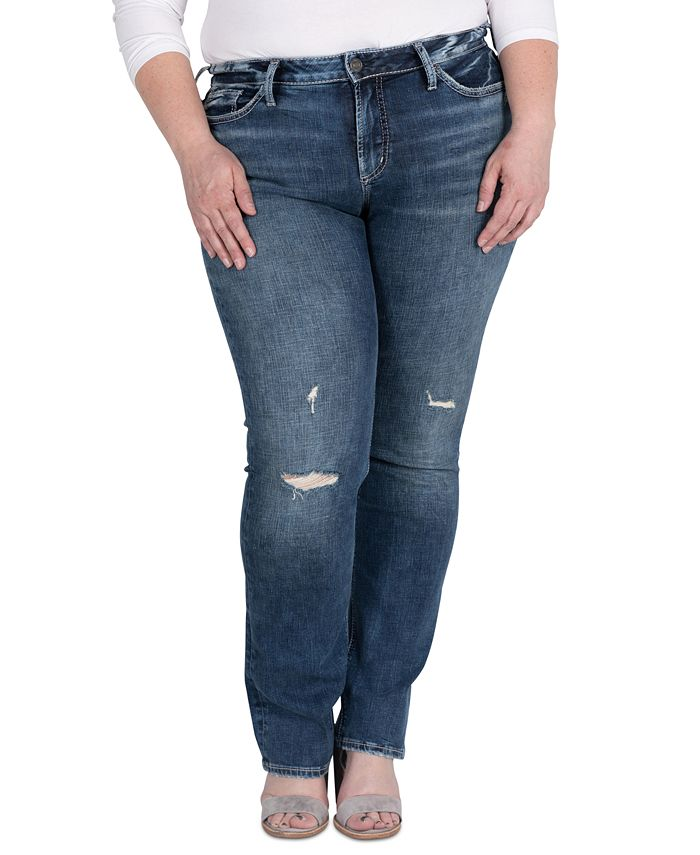 Silver Jeans Co. - Trendy Plus Size Suki Ripped Straight-Leg Jeans