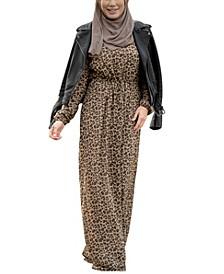 Women's Leopard Drawstring Maxi Dress