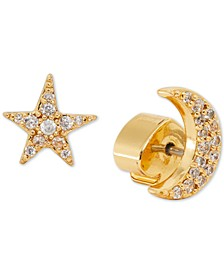 Gold-Tone Pavé Star & Moon Mismatch Stud Earrings
