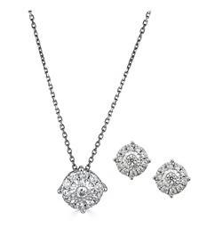 2-Pc. Diamond (1/2 ct. t.w.) Halo Pendant Necklace & Matching Stud Earring Set in 14k Gold