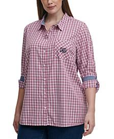 Plus Size Cotton Plaid Roll-Tab Shirt