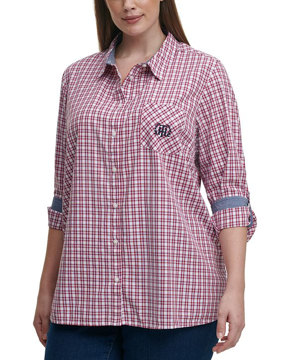 Tommy Hilfiger Plus Size Cotton Plaid Roll-Tab Shirt