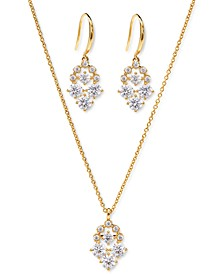 Cubic Zirconia Cluster Pendant Necklace & Drop Earrings Set, Created for Macy's