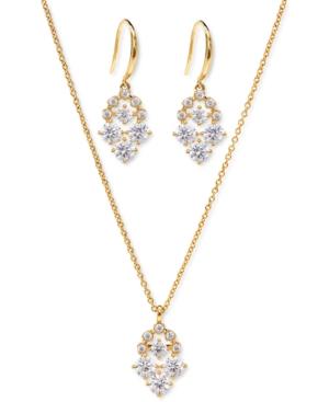 Cubic Zirconia Cluster Pendant Necklace & Drop Earrings Set
