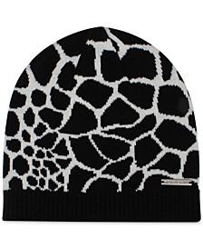 Animal-Print Patchwork Beanie Hat