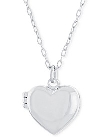 """Polished Heart Locket Pendant Necklace, 16"""" + 2"""" extender, Created for Macy's"""