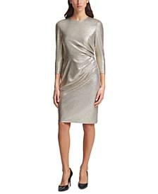 Metallic Knit Side-Tuck Bodycon Dress