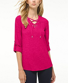 Waffle Lace-Up Tunic, Regular & Petite Sizes