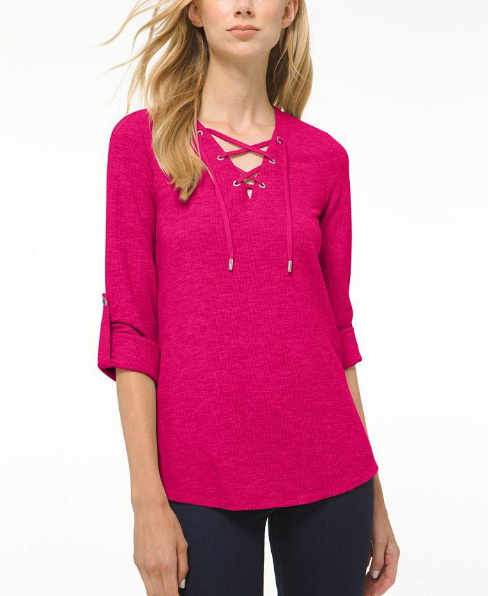 Michael Kors - Plus Size Waffle-Knit Lace-Up Tunic