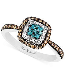 Le Vian Blue and White Diamond and Diamond Accent Ring in 14k White Gold (3/8 ct. t.w.)