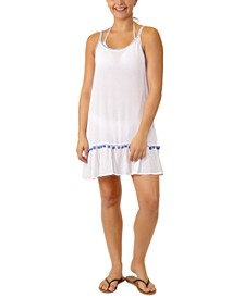 Juniors' Adjustable Pom-Pom-Trim Cover-Up, Created for Macy's