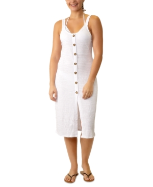 Juniors' Adjustable Button-Front Cover-Up