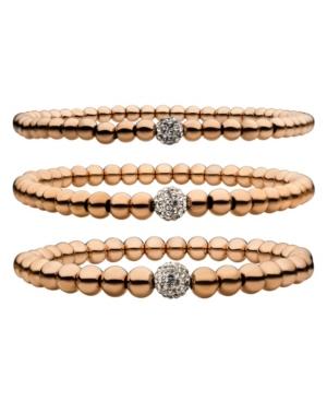 Men's Rose Gold Ip Ball Bead and Gem 3 Piece Bracelet Set