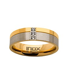 Men's Steel Gold-Tone Plated 3 Piece Clear Diamond Ring