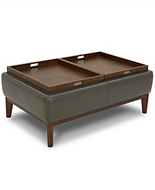 Jollene Leather Ottoman with Wood Trays, Created for Macy's