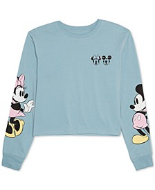 Juniors' Mickey & Minnie Mouse Long-Sleeved Graphic T-Shirt