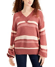 Juniors' Striped V-Neck Balloon-Sleeve Sweater