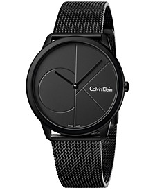 Unisex Minimal Black PVD Stainless Steel Mesh Bracelet Watch 40mm