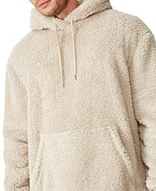 Men's Drop Shoulder Teddy Fleece Hooded Sweater