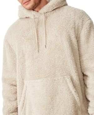 Men's Drop Shoulder Teddy Fleece Hooded Sweater