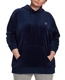 Plus Size Velour Logo Hoodie