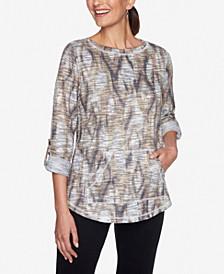 Petite Ikat-Print Pullover Top
