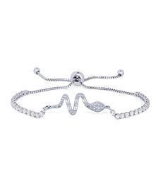 Cubic Zirconia Snake Adjustable Bolo Bracelet in Fine Silver Plate