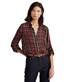 Plaid Roll-Tab-Sleeve Twill Shirt