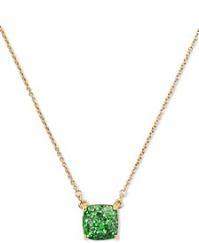 "Glitter Crystal Square Mini Pendant Necklace, 17"" + 3"" extender"