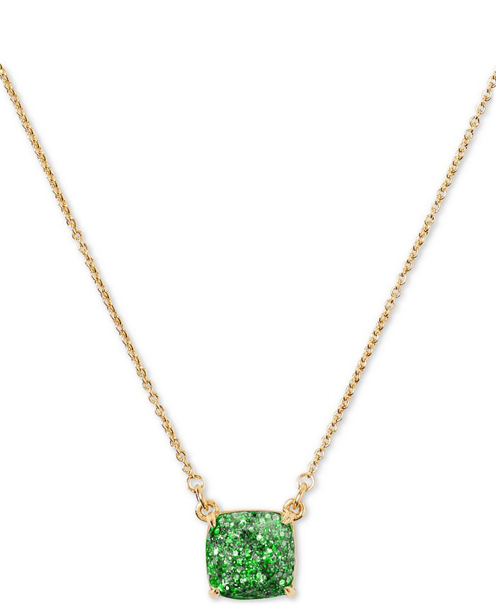 "kate spade new york - Glitter Crystal Square Mini Pendant Necklace, 17"" + 3"" extender"