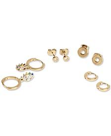 Gold-Tone 4-Pc. Set Crystal Evil Eye Stud & Huggie Hoop Earrings