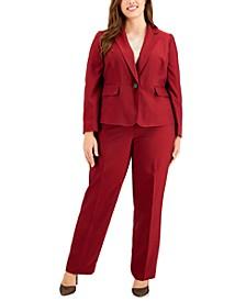 Plus Size Mini Crosshatch Pantsuit