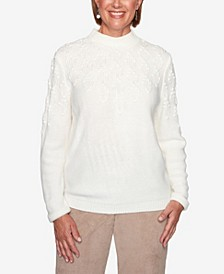Women's Missy Dover Cliffs Pointelle Stitch Yoke Solid Sweater