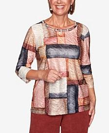 Women's Missy Catwalk Watercolor Boxes Knit Top