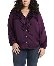 Women's Plus Size Ruffle Neck Button Front Top