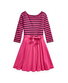 Little Girls Striped Ponte Dress