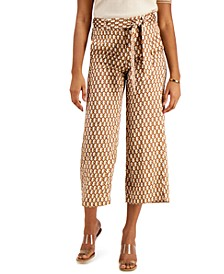 Camel Chain-Print Cropped Pull-On Trousers