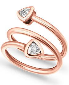 Cubic Zirconia Trillion Bezel Wrap Ring in 18k Rose Gold-Plated Sterling Silver, Created for Macy's