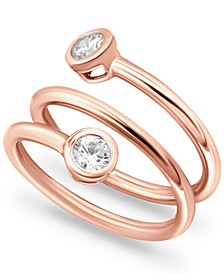Cubic Zirconia Bezel Wrap Ring in 18k Rose Gold-Plated Sterling Silver, Created for Macy's