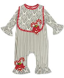 Baby Girls Candy Cane Jumpsuit & Bib Set