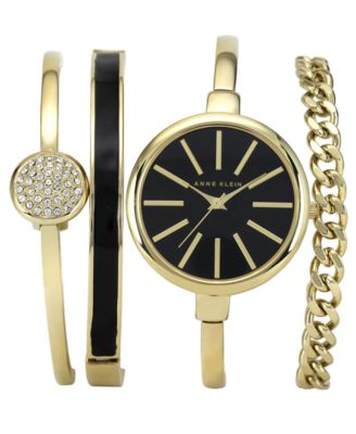 Image of Anne Klein Women's Interchangeable Gold-Tone Bangle Bracelets & Watch Set 32mm AK-1470GBST