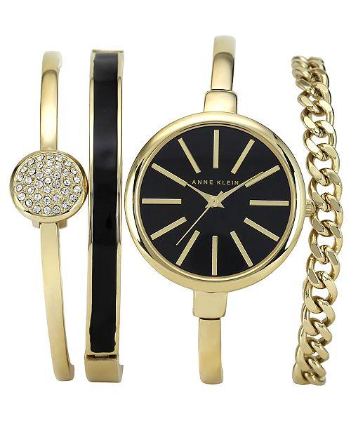 Anne Klein Women's Interchangeable Gold-Tone Bangle Bracelets & Watch Set 32mm