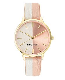 Women's Gold-tone and White/Light Pink Strap Watch, 37mm