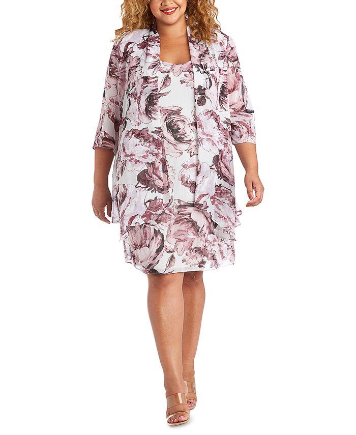R & M Richards - Plus Size Floral-Print Jacket & Dress