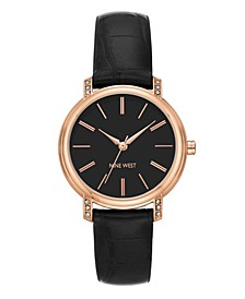 Women's Crystal Accented Rose Gold-Tone and Black Croco-Grain Strap Watch, 35mm
