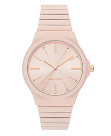 Women's Light Pink Rubberized Bracelet Watch, 37.5mm