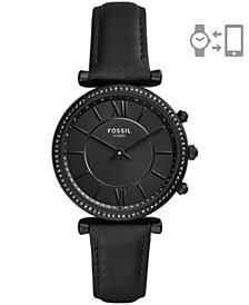 Women's Hybrid Smart Watch Carlie Black Leather Strap Watch 36mm